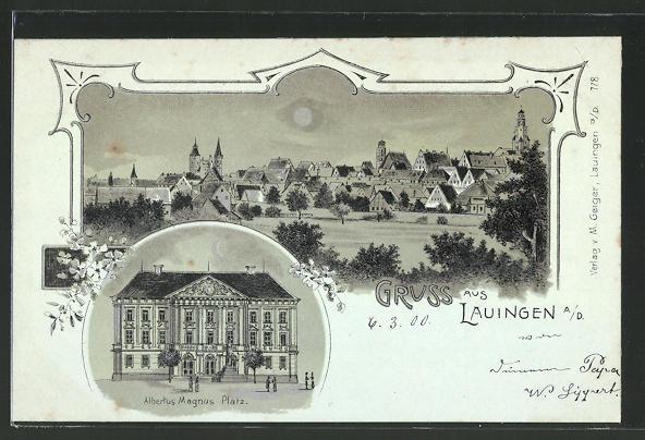 Mondschein-Lithographie Lauingen, Albertus Magnus Platz, Totalansicht