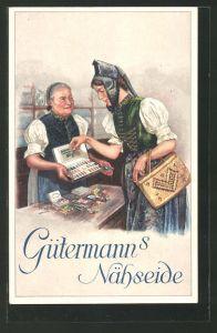 Künstler-AK Curt Liebich: Junge Frau kauft Gütermann's Nähseide