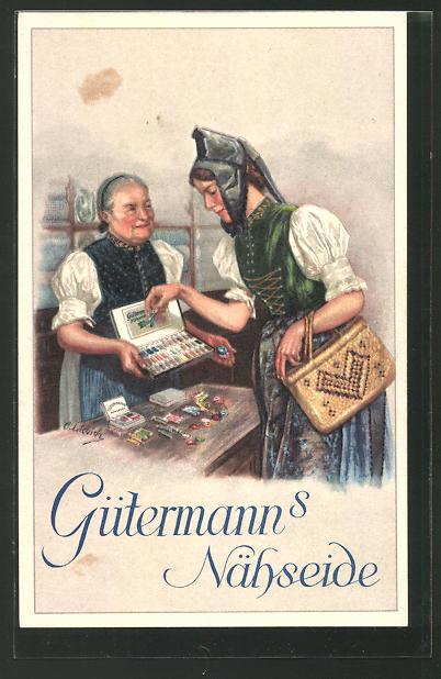 Künstler-AK Curt Liebich: Frau in Schwarzwälder Tracht kauft Gütermann's Nähseide