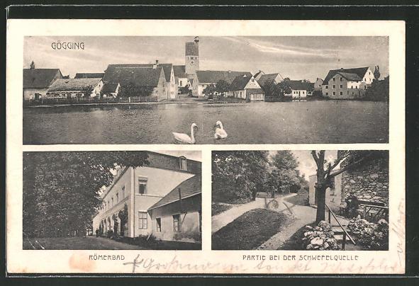AK Gögging, Ortsansicht, Römerbad, Schwefelquelle