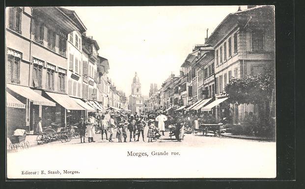 AK Morges, Grande Rue, Strassenpartie im Zentrum