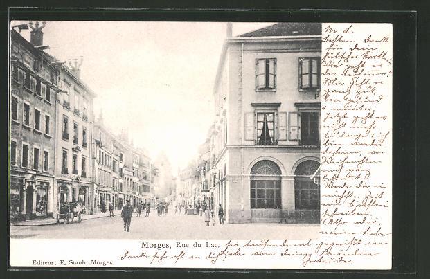 AK Morges, Rue du Lac, Strassenpartie im Zentrum