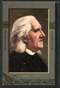 AK Franz Liszt, Portrait in Zierrahmen
