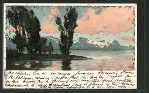 Künstler-AK Ernst Liebermann: Kapelle am See im Abendlicht