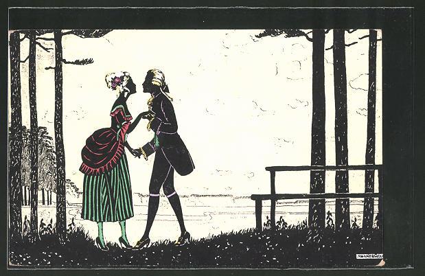 Künstler-AK Manni Grosze: Paar im Wald beim heimlichen Kuss