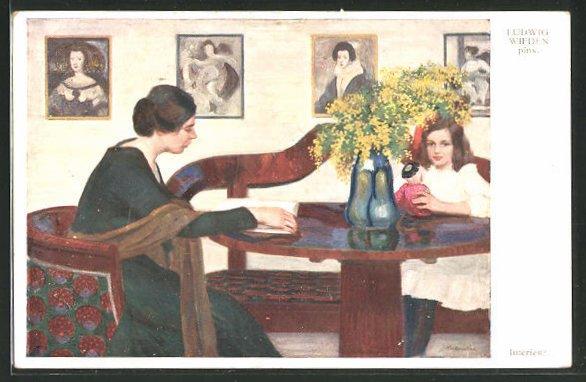 Künstler-AK sign. Ludwig Wieden: Mutter mit Tochter am Stubentisch