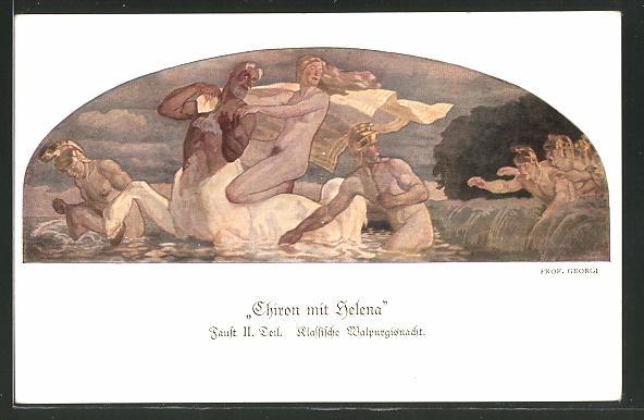 Künstler-AK sign. Prof. Georgi: Chiron mit Helena, Faust II. Teil