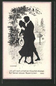 Künstler-AK sign. Zinnoris: Liebespaar beim leidenschaftlichen Kuss, Schattenbild