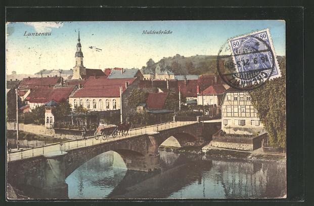 AK Lunzenau, Ortsansicht mit Muldenbrücke