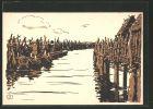 Künstler-AK Buchau, Wehranlagen der Wasserburg am Federsee