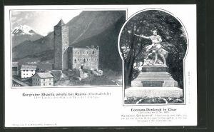 AK Reams, Burgruine Rhaetia ampla, Fontana-Denkmal in Chur
