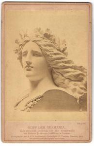 Fotografie F. & O. Brockmann, Dresden, Plastik von Prof. J. Schilling, Kopf der Germania vom Niederwald-Nationaldenkmal