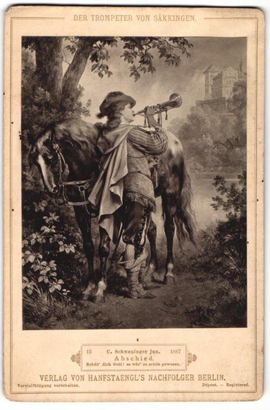 Fotografie Verlag von Hanfstaegl's Nachfolger, Berlin, Gemälde von Schweninger jun., Abschied, Trompeter von Säkkingen