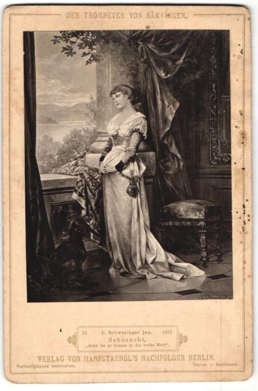 Fotografie Verlag von Hanfstaegl's Nachfolger, Berlin, Gemälde von Schweninger jun., Sehnsucht, Trompeter von Säkkingen