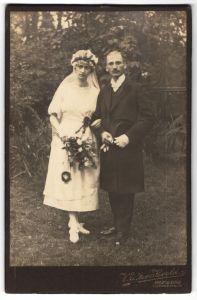 Fotografie Walter Herold, Freiberg, Portrait Braut und Bräutigam