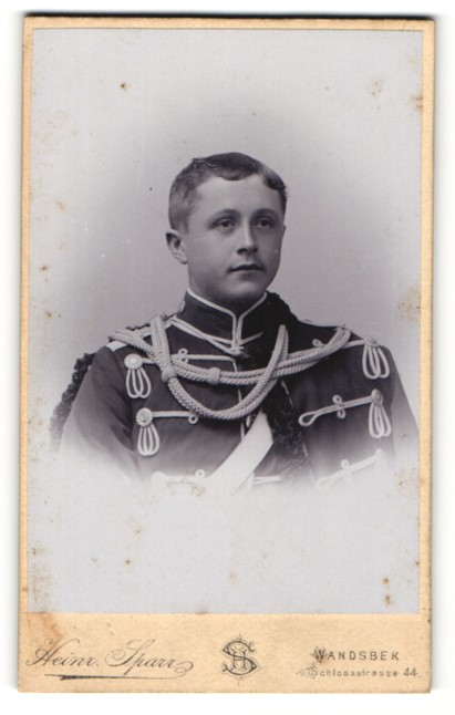 Fotografie Heinr. Sparr, Wandsbek, Portrait junger Husar in Uniform