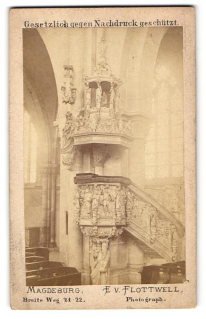 Fotografie E. V. Flottwell, Magdeburg, Ansicht Magdeburg, Kanzel im Dom