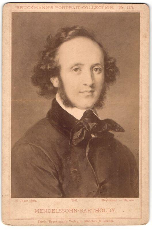 Fotografie Friedr. Bruckmann's Verlag, München, London, Portrait Mendelssohn-Bartholdy, Gemälde von C. Jäger