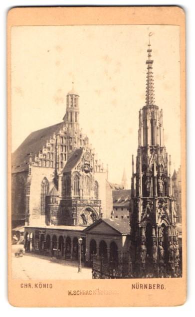 Fotografie Chr. König, Nürnberg, Ansicht Nürnberg, Schöner Brunnen und Frauenkirche