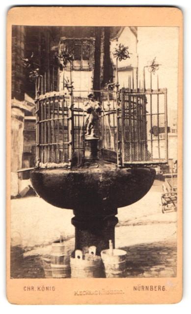 Fotografie Chr. König, Nürnberg, Ansicht Nürnberg, Gänsemännchen-Brunnen