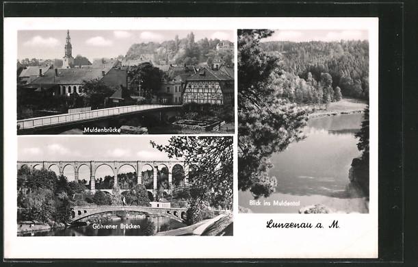 AK Lunzenau, Muldenbrücke, Blick ins Muldental, Göhrener Brücken