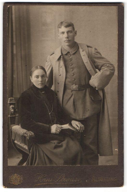 Fotografie Hans Strauss, Altötting, Portrait junger Soldat und junge Dame
