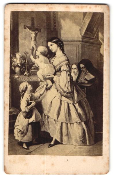 Fotografie Gemälde Der erste Kuss, Kleinkiind küsst Kruzifix