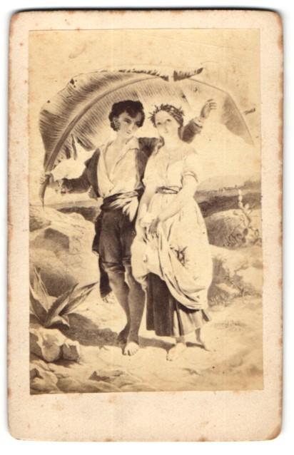 Fotografie Gemälde junges Paar unter Plamenblatt