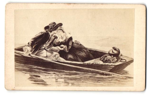 Fotografie Gemälde junges Paar in Boot
