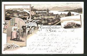 Lithographie Luzern, Luzernerin am Spinnrad, Rigi-Kulm, Rigi-Känzeli, Ortsansicht mit Vierwaldstättersee