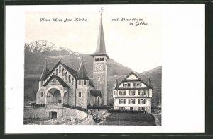 AK Goldau, Blick auf die Neue Herz-Jesu-Kirche und Pfrundhaus