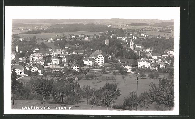 AK Laufenburg, Ortspanorama vom Berg aus gesehen