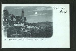 Mondschein-AK Aarau, Äussere Halde mit Proestantischer Kirche