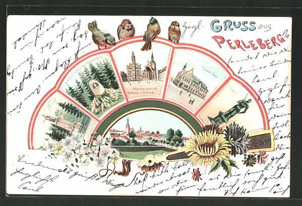 Passepartout-Lithographie Perleberg, Roland, Markt mit Rathaus & Kirche in einem Fächer