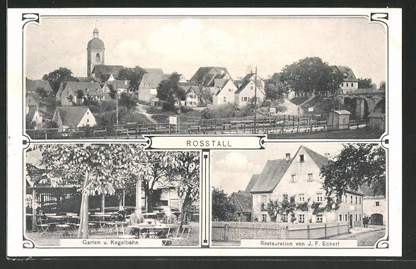 AK Rosstal, Ortsansicht, Restauration, Garten & Kegelbahn