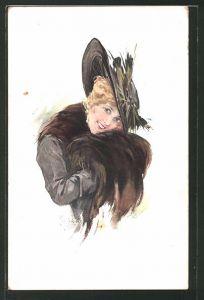 Künstler-AK Schilbach: Blonde Dame mit Hut und Muff