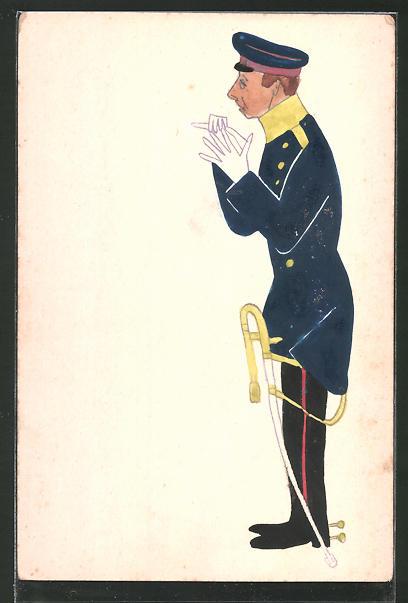 Künstler-AK Karikatur eines Offiziers der Armee, handgemalt
