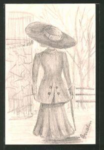 Künstler-AK Handgemalt: Elegante Frau mit grossem Hut