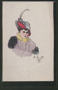 Künstler-AK Handgemalt: Portrait einer Dame mit Hut