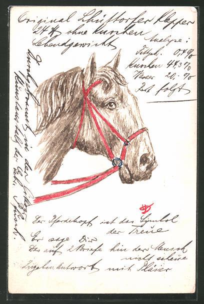 Künstler-AK Handgemalt: Pferd mit Zaumzeug
