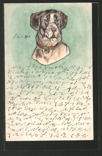 Künstler-AK Handgemalt: Kopf eines Hundes mit Halsband