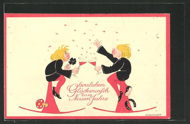 Künstler-AK Kerckhoff: Freunde stossen auf das neue Jahr an und werfen Konfetti in die Luft