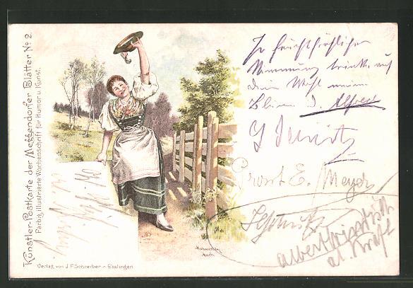 Künstler-AK Meggendorfer Blätter Nr. 2: Frau in Tracht zieht grüssend den Hut