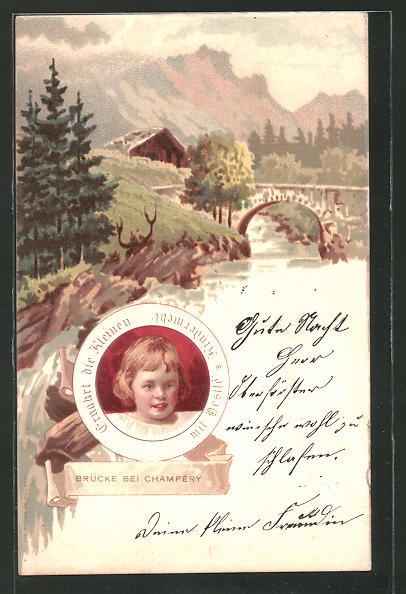 Lithographie Reklame für Nestlé Kindermehl, Brücke bei Champery