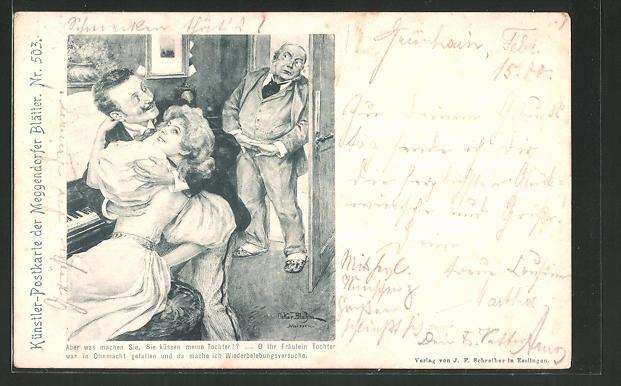 Künstler-AK sign. Meggendorfer Blätter: Vater erwicht seine Tochter mit einem Mann beim knutschen