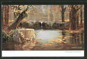 Künstler-AK sign. Enrique Serra: Campagna Romana, Idyllische Landschaft