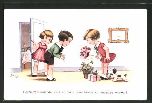 Künstler-AK sign. Jim Patt: Permettez-nous de vous souhaiter..., Geburtstagsglückwünsche