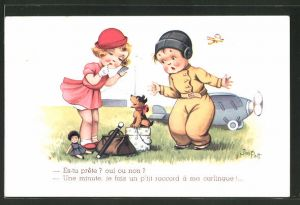 Künstler-AK sign. Jim Patt: Es-tu prête? oui ou non?... Kleiner Flieger und Mädchen