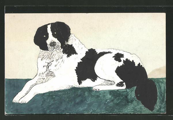 Künstler-AK Handgemalt: Portrait eines liegenden Hundes