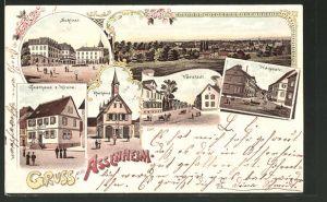 Lithographie Assenheim, Totalansicht, Vorstadt, Hauptstrasse, Schloss, Gasthaus zur Krone